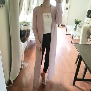 Forever 21 Pink Wide Ribbed Open Duster Sweater